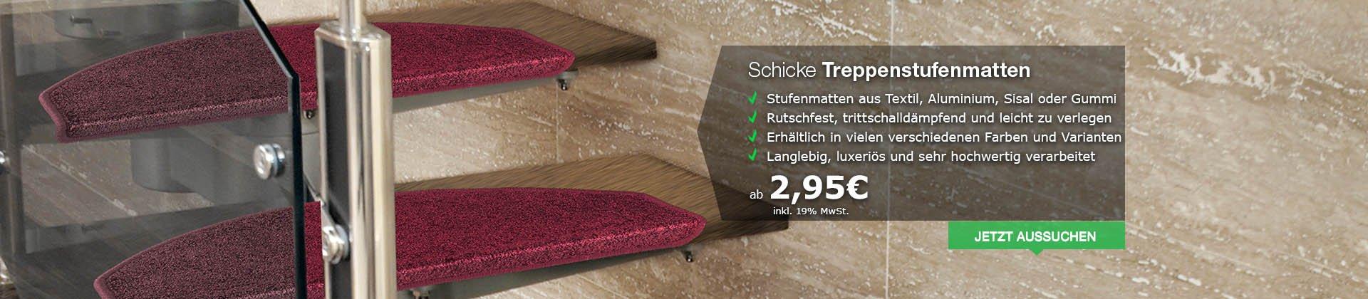 Schicke Treppenstufenmatten aus Textil, Alu, Sisal oder Gummi